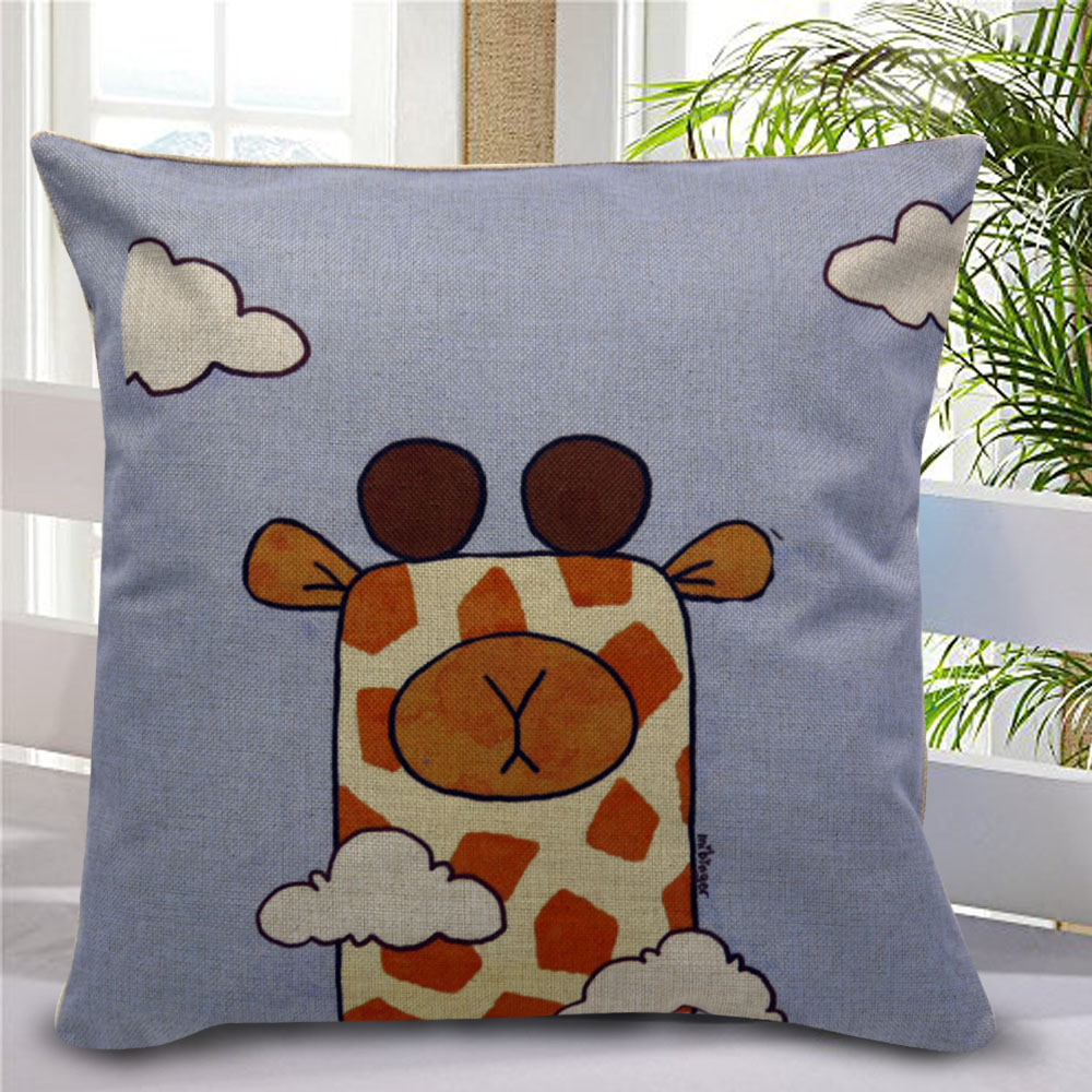 Canvas Decorative Pillow Case Giraffe (Multicolor) product preview, discount at cheapest price