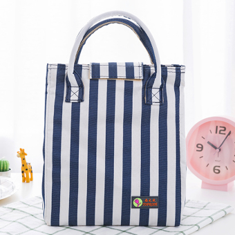Canvas Japanese-style striped lunch bag container bag