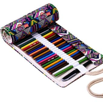 Canvas Wrap Roll Up Pencil Bag Pen Case color:36 Holes - intl - 2