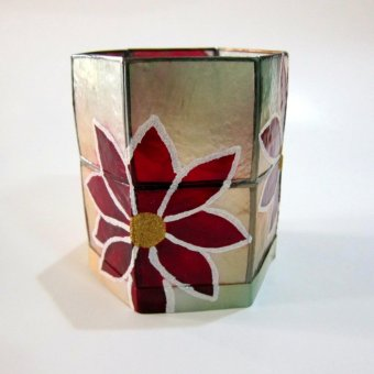 Capiz Hexagon Candle Holder Poinsettia Design - 2