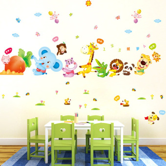 Cartoon Animal Radish PVC Wall Sticker Decals for Kids Baby Bedroom House Dec Oration colorful - 2