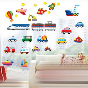 Cartoon Cars Trains Ships Boats Balloon Vinyl Wall Sticker DecalWallpaper PVC Mural Art House Decoration Home Picture Wall Paperfor Adult Kids Babies