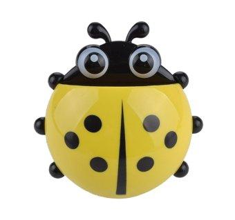 Cartoon Ladybug Bathroom Suction Cup Toothbrush Holder Yellow