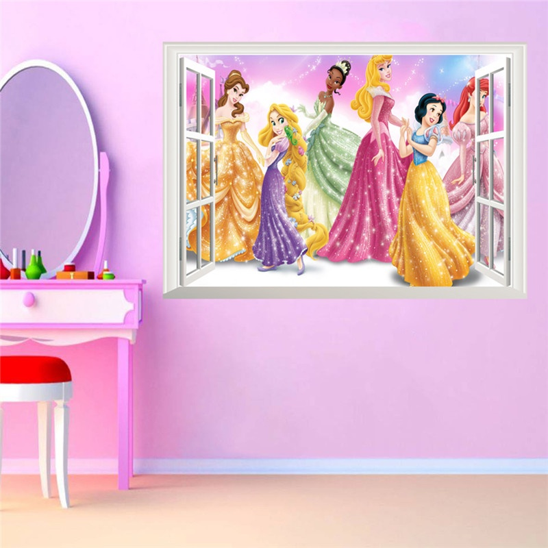 Philippines Cartoon Princess Queen Wall Stickers For Kids Room Pvc