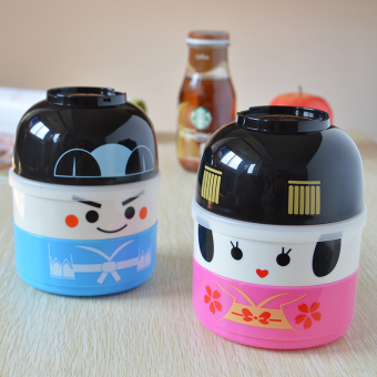 Cartoon student microwave double layer Japanese lunch box snack box