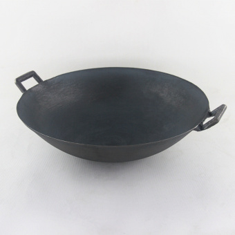 cast iron pot The old traditional 2 ears non- coating pointed panwok picnic 30CM - Intl