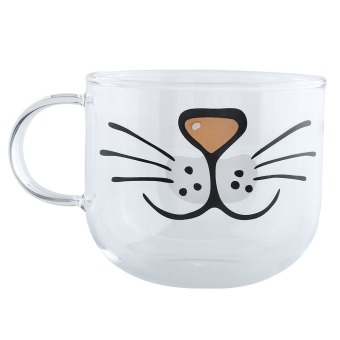 Cat Kitty Boronsilicate Glass Coffee Cup Home Transparent Clear Water Mug 550ML Price Philippines