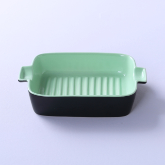 Ceramic ears rectangular oven dish plate