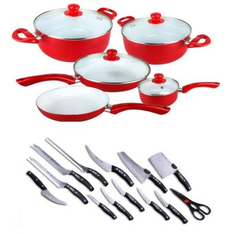 Ceramic Pan 9-piece Set (Red) Bundle with Mibacle Blade 13-PieceSet
