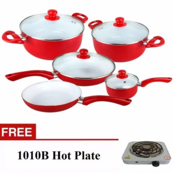 Ceramic Pan 9-Piece Set (Red) With Hot Plate Electric Cooking StoveSingle (White)