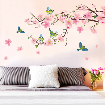 Chinese-style home appliqués wall appliqués flower adhesive paper wall stickers Home Décor Wall Stickers Decals