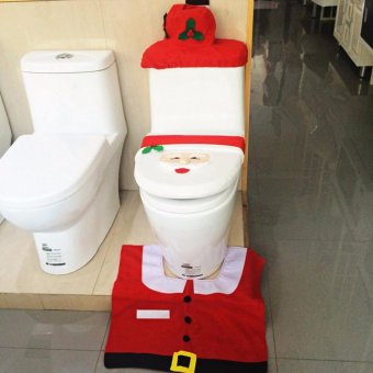 Christmas Decorations Happy Santa Toilet Seat Cover and Rug Set and Tissue Box Cover - intl