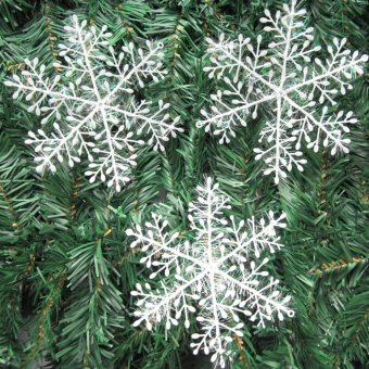 Christmas Decorations Supplies White Snow Snowflakes Hanging Ornaments 6cm Set of 60 - picture 4