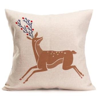 Christmas Deer Pillow Case Sofa Waist Throw Cushion Cover Home Decor - intl - picture 2