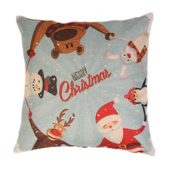 Christmas figures linen pillow cover material for home, pillow to protect the car (Intl)