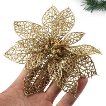 Christmas Flowers Xmas Tree Decorations Glitter Hollow Wedding Party Decor