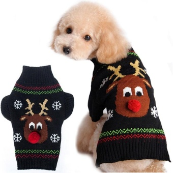 Christmas Knitted Sweater Reindeer Snowflake Pet Dog Sweaters Christmas Puppy Apparel Size-M - intl