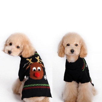Christmas Knitted Sweater Reindeer Snowflake Pet Dog Sweaters Christmas Puppy Apparel Size-M - intl - picture 2