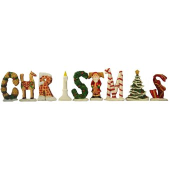 Christmas LETTERS set of 9 Classic Table Top with glitters (SantaClaus) Holiday (Made of Fiberglass Resin) by Everything About Santa(Christmas decoration and gift suggestion)