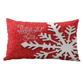 Christmas Rectangle Cotton Linter Pillow Cases Cushion Covers -intl