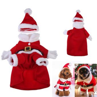 Christmas Santa Claus Dog Pet Cat Clothes Costume Dress (Red) - intl