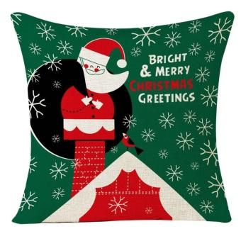 Christmas Santa Claus Sofa Home Decoration Festival Pillow Case Cushion Cover - intl