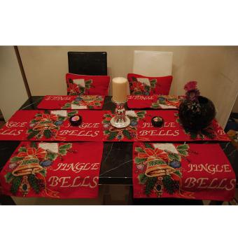 Christmas Tapestry Table Cloth Runner Jingle Bells w/ Tassel Multicolor - intl - 5
