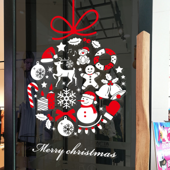 Christmas wreath shop window glass sticker wall adhesive paper