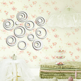 Circles Mirror Style Removable Decal Vinyl Art Mural Wall Sticker - picture 2