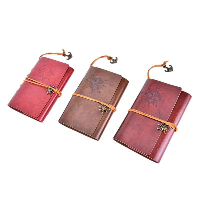 Classic Retro Notebook Journal Diary Sketchbook Leather Cover ThickBlank Pages Red Brown -