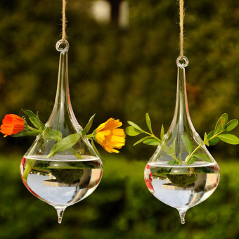 Clear Water Drop Shape Glass Hanging Vase Bottle Hydroponic Pot Table Decor