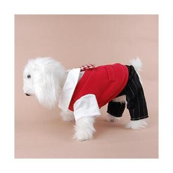 College Students Style Dog Red Vest Coat with Tie + Striped Pants -- (S)