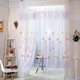 Color Lotus Sheer Voile Door Window Curtains Purple Price Philippines