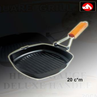 Cookware Non-Stick Square Grill Pan 20*cm with Heavy Gauge DeluxeHandle (Brown/Black)