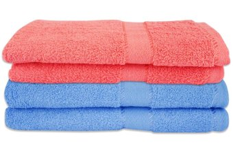 Cotton Bath Towel Set of 2 (Light Blue/Peach)