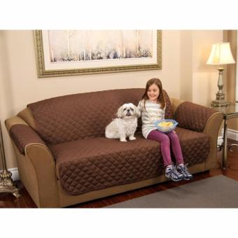 Couch Coat Recliner Cover Long Set of 3 (Brown) - 2