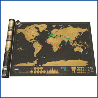 Creative Educational Gold Map with Black Backgrounds