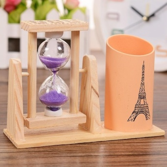 Creative Gifts Wooden Hourglass Pen Container Timer SchoolStationery Office Supplies, Random Color Delivery - intl - 2