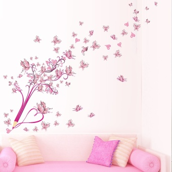 creative pencil flying butterflies flower floral pvc wall stickers for living room home decor diy wall art removable decals gift - intl