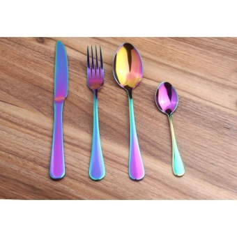 Creative Western Steak Knife Fork Spoon Upscale Tableware Set -Colorful - intl Price Philippines