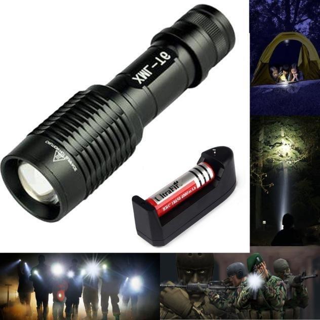 CREE XM-L T6 2000LM Black LED Flashlight Torch Zoomable Lamp Light5-Modes Power - intl(Black) ...