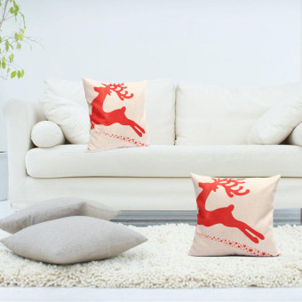 Cushion Covers Pillow Shells Red Christmas Reindeer Linen Cotton Cover 17''X17''