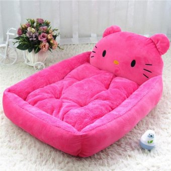 Cute Animal Cat Dog Pet Beds Mats Teddy Pet Dog Sofa Pet Cat Bed House Big Blanket Cushion Basket Supplies 1(L_pink KT cat) - intl