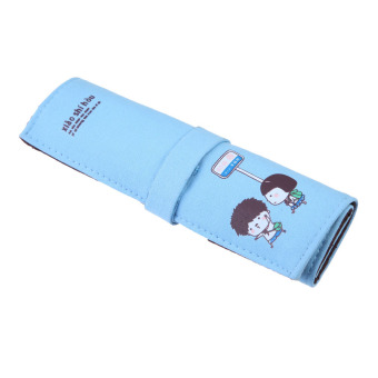 Cute Canvas Roll Up Makeup Cosmetic Stationery Pen Pencil Case Pouch Blue (Intl)