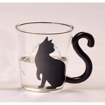 Cute Creative Cat Kitty Glass Mug Cup Tea Cup Milk Coffee CupEnglish Words Home Office Cup - intl Price Philippines