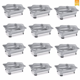 D&D Rectangular Stainless Food Warmer Tray With Pattern Design Cover (SET of 12)