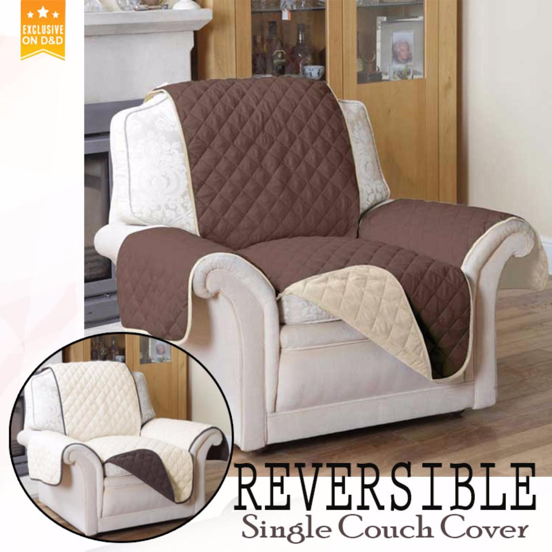 Du0026D Reversible Single Couch Coat Recliner Cover Brown + Cream