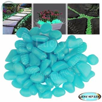 Decorative Stone Pebbles Glow in the Dark Luminous Light Blue
