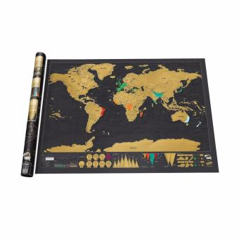Deluxe Travel Edition Personalized Journal Scratch Off World Map Poster - intl