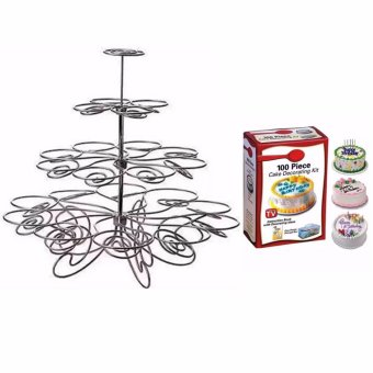 Detachable 4 Layers Iron Cake Stand 13 Cupcake Holder Cup TrayTable Decoration with Cake Decorating Kit 100-piece Set